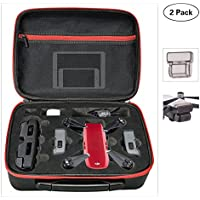 DJI Spark Drone Case Waterproof + DJI Spark Gimbal Cover Helistar Portable Carry Case with DJI Spark Lens Guard for Protective DJI Spark Drone (2 Pack) Red + Black