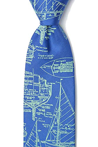 Sailboat Blueprints Sail Plans Sailing Nautical 100% Silk Necktie Tie Neckwear -