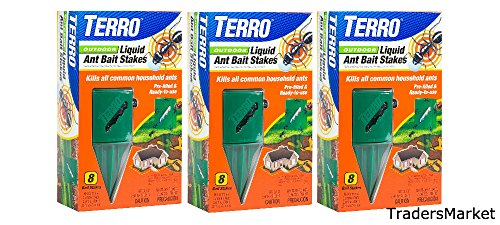 Terro T1812 Outdoor Liquid Ant Killer Bait Stakes - 8 Count (0.25 oz each) (3 pack) ()