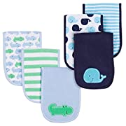 Gerber Baby Boys 6 Pack Burp Cloths, Gator/Whale, One Size