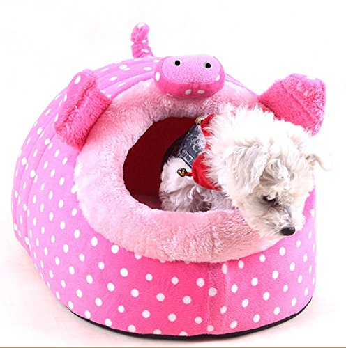 Cute Animal Design Comfortable Indoor House Bed Puppy Kitten Pet Dog Cat Nest Pad Soft Fleece Bed by MOJUN