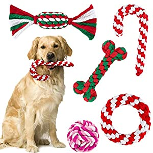 ADXCO 5 Pack Christmas Dog Rope Toys for Aggressive Chewable Christmas Theme Pet Chew Toys Crutch and Bone Shape for…