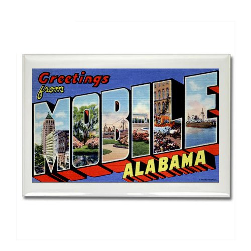 CafePress - Vintage Mobile Alabama AL Fridge Magnet - Rectangle Magnet, 2