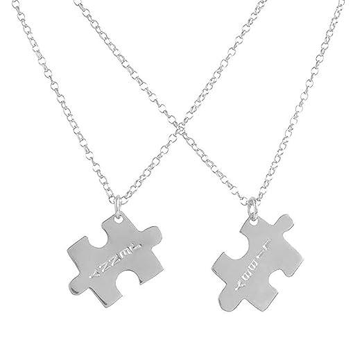 online aquí venta barata ee. Venta caliente 2019 Dos colgantes puzzle personalizados de plata esterlina.