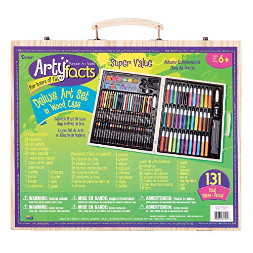 Darice (1103-10) 131-Piece Premium Art Set – Art Supplies for Drawing, Painting and More in a Wood Case - Makes a Great Gift for Children and -