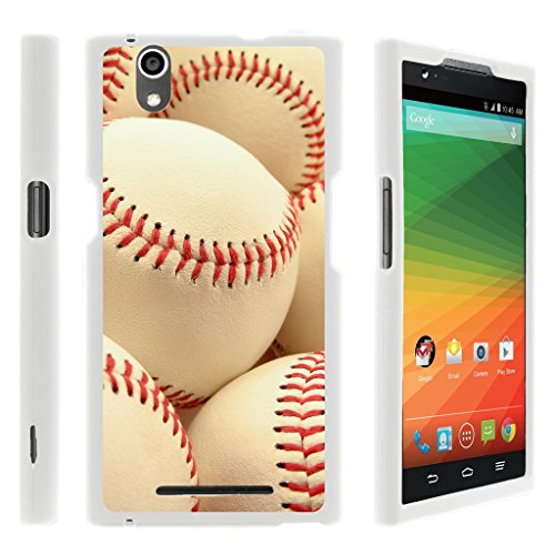 (Compatible for ZTE ZMAX Case | Z970 [Slim Duo] Fitted 2 Piece Hard Snap On Case Rubberized Grip Coat on White Sports and Games Design by TurtleArmor - Pile of Baseballs)