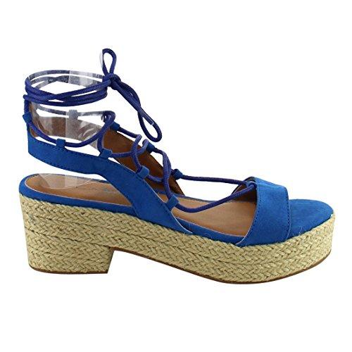 C Etikett Ae95 Kvinna Espadrille Plattform Snörning Häl Sandals Blue