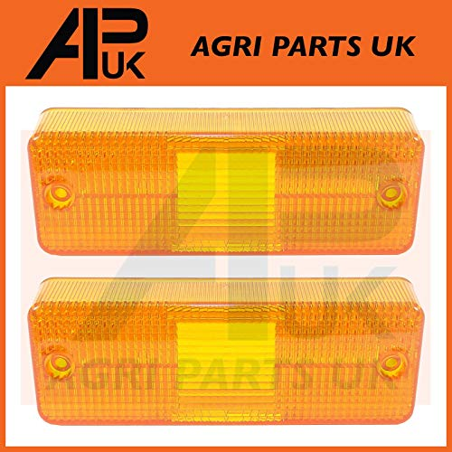 APUK 2 x Front Headlight Headlamp Light Lamp Indicator Lenses Compatible with JCB Fastrac Tractor: