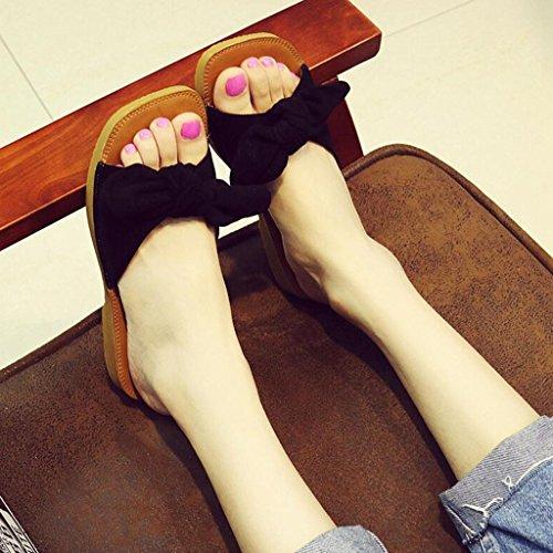 Femmes Plein Mode Xy® Mot D'été Black Plage Air Femmes Enceintes Tendon Sandales Pantoufles Et Bow Pantoufles Bas Souple en Sandales Chaussures Femmes Tirer Plate fq8tqrY