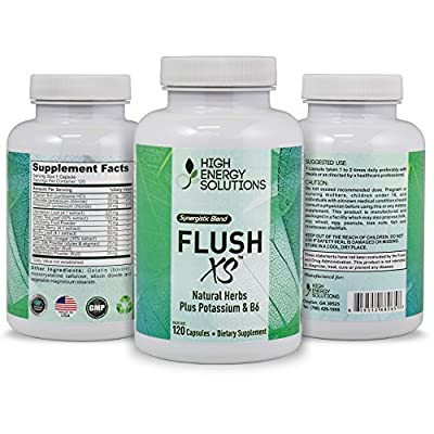 HIGH ENERGY SOLUTIONS Flush XS 120 Capsules Herbal Diuretic Supplements For Water Retention, PMS, Edema, Blood Pressure, Bloating Maximum Strength (1396mg / Serving) - GMP - USA