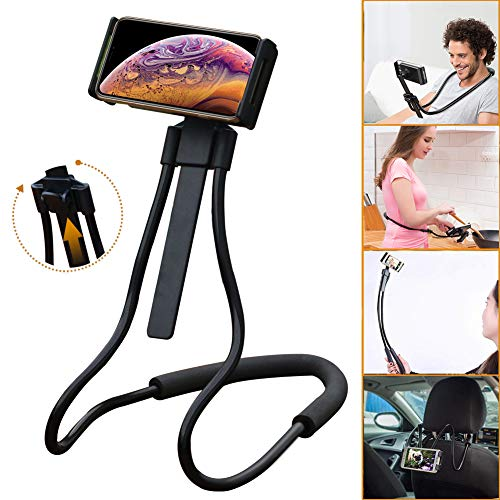 Phone Neck (TOPOSH Cell Phone Holder, Tablet Stand, Universal Mobile Phone Stand, Lazy Bracket Neck Holder, Unique Adjustable Height, DIY Free Rotating Mounts for Bed Desk Car and Bike (Black))