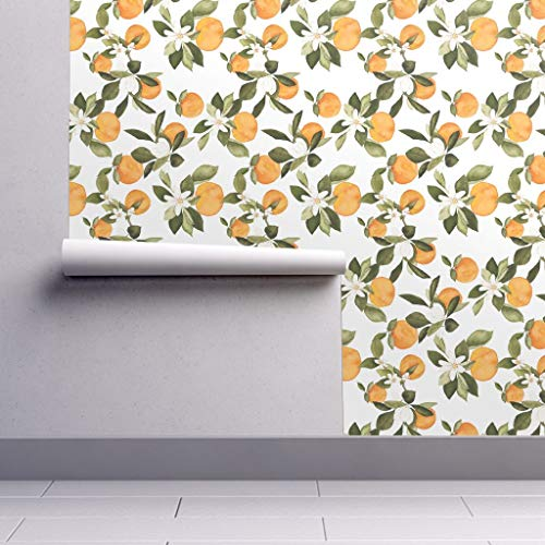Removable Water-Activated Wallpaper - Oranges Oranges Blossoms Botanical Orange Green White Oranges Blossoms by Mintpeony - 12in x 24in Smooth Textured Water-Activated Wallpaper Test Swatch