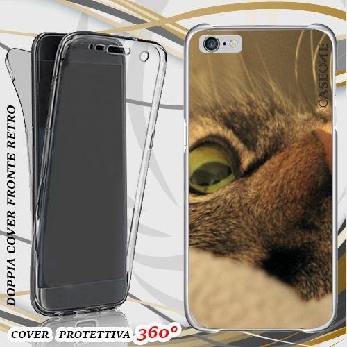 CUSTODIA COVER CASE GATTO OCCHIO PER IPHONE 6 FRONT BACK