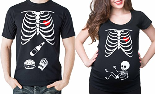 Pregnancy Costumes For Halloween - Skeleton Maternity Halloween Couple matching Shirts Dad and Mom Maternity Halloween Costume Tee Shirts Pregnancy Tees X-ray Skeleton T-Shirt Men Large - Women Medium
