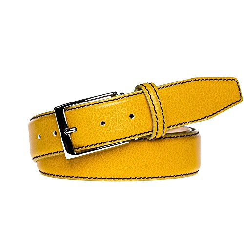 Yellow Italian Pebble Leather Belt by Roger Ximenez: Bespoke Maker of Fine Leather Goods