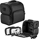 Black Soft Sided Makeup Cosmetic Beauty Rolling Trolley Case