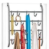 Lynk Over Door or Wall Mount Scarf Holder - Belt, Hat, Jewelry, Accessory Hanger - 16 Hook Organizer Rack - Platinum