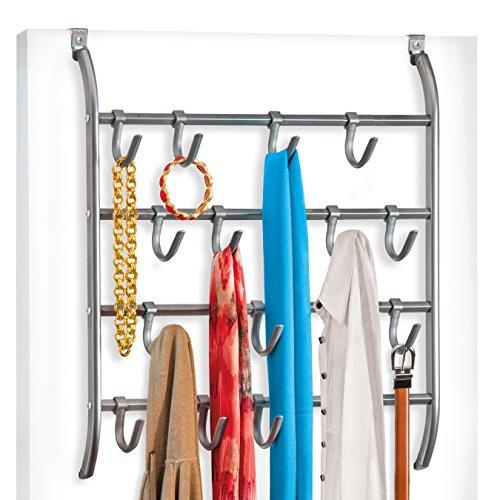 Lynk Over Door or Wall Mount Scarf Holder - Belt, Hat, Jewelry, Accessory Hanger - 16 Hook Organizer Rack - ()