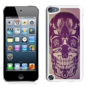 NEW Unique Custom Designed iPod Touch 5 Phone Case With Skull Artwork Purple Illustration_White Phone Case