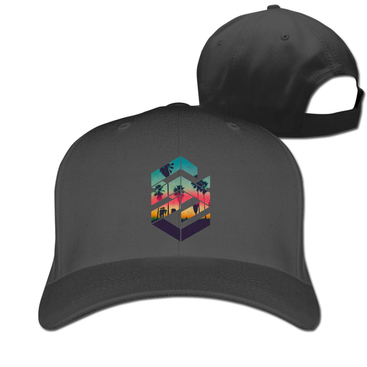 Geometric Sunset Beach Fashion Adjustable Cotton Baseball Caps Trucker Driver Hat Outdoor Cap Black