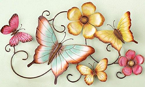 Yellow & Pink Butterflies on Vine 3D Metal Wall Sculpture
