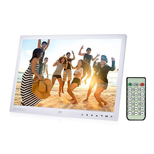 Andoer Digital Photo Picture Frame, 15 inch Digital Picture Frame 1280 800 HD Resolution 16:9 Wide Picture Screen Offers a Clear and Distinct Display (White)