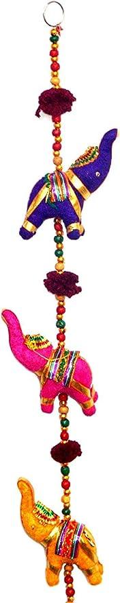 Amazon Com Tribe Azure Fair Trade 5 Elephant Bell Hanging Door Wall Living Room Bedroom Decor Art Decorative Colorful Animal Boho Hippie Gypsy Chime Ethnic Home Kitchen