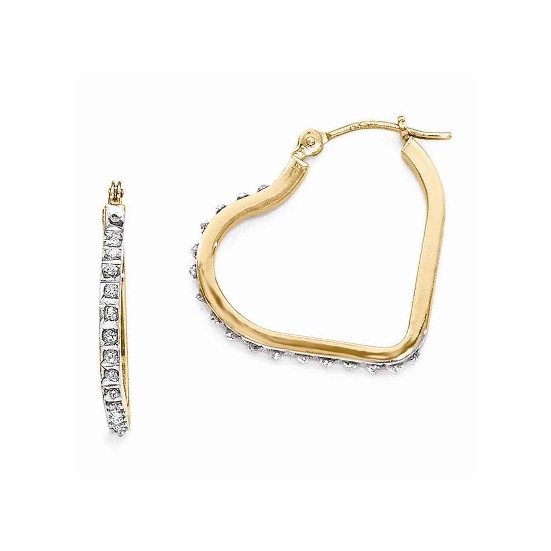 ICE CARATS 14k Yellow Gold Diamond Fascination Heart Hinged Hoop Earrings Ear Hoops Set Love Fine Jewelry Gift Set For Women Heart