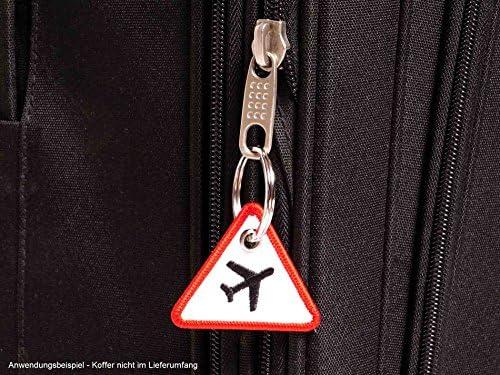 H/ändler DE rosso//aereo: nero 4 x 4,6 cm colore: bianco Portachiavi a forma di aereo effetto segnaletico Wingdesign