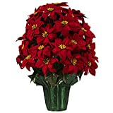 Sympathy Silks Large Red Poinsettias Artificial Weighted Potted Bouquet (LP1916). 25 Inches Tall with 36 Poinsettias!