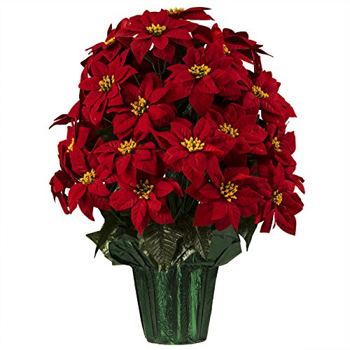 Large Red Poinsettias Artificial Weighted Potted Bouquet (LP1916). 25 Inches Tall with 36 Poinsettias! Purchase 4 Poinsettia Pots and only pay for 3! (See promotion details)