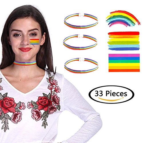 - Baring 30pcs Gay Pride Rainbow Stickers Temporary Tattoo with 3pcs Rainbow Chokers Body Paint 3 Shapes Tattoo Removable Set