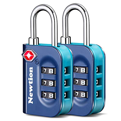 Newtion TSA Lock 2 Pack,TSA Approved Luggage Lock,Travel Lock with Double Color Alloy Body,Combination Padlock for Luggage