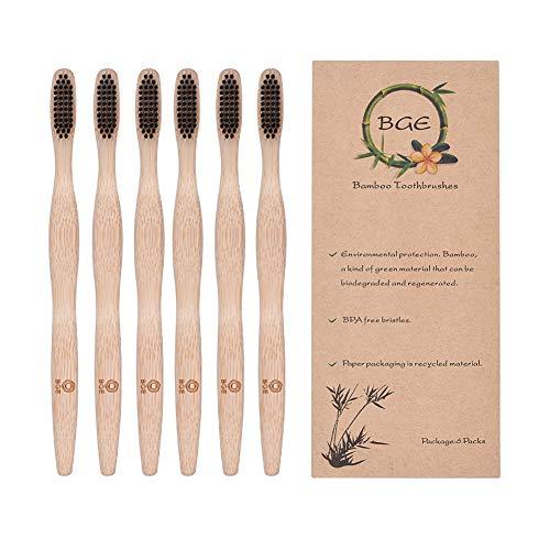 Bamboo Toothbrush,Biodegradable Organic Natural Bamboo Charcoal Toothbrush,Soft Nylon Bristles,BPA Free,Ergonomic Handle for Sensitive Gums,Set of 6 (Black)