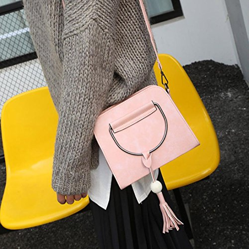 BZLine® Frauen Damen-Handtasche Schulter-Umhänge-Tasche, 21cm*9cm*18cm (Grau) Pink