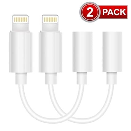Headphone Adapter for Phone Adapter to 3.5mm Earphones//Earbuds Jack Adapter Cellphone Cable Earphones//Headsets Converter Compatible with iPhone XS//XR//X//8//8 Plus//7//7 Plus//ipad//iPod White