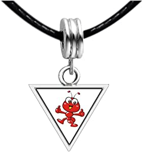 Chicforest Silver Plated Happy Lovely Ant Photo Triangle Charm Beads Bracelets European Bracelets Compatible