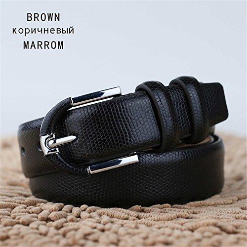 Meetloveyou Most popular Luxury Snakeskin Belts for Men Strap Male Fashion Man Wide Belt black brown tan LJ012 Brown 115cm 33 to 35 Inch