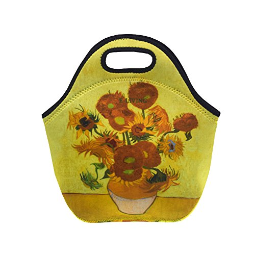 E-Living Neoprene Lunch Tote Bag - 4 Designs with Van Gogh/Monet Oil Painting Masterpieces (Almond Blossom/Starry Night/Water Lilies) (Sunflowers)