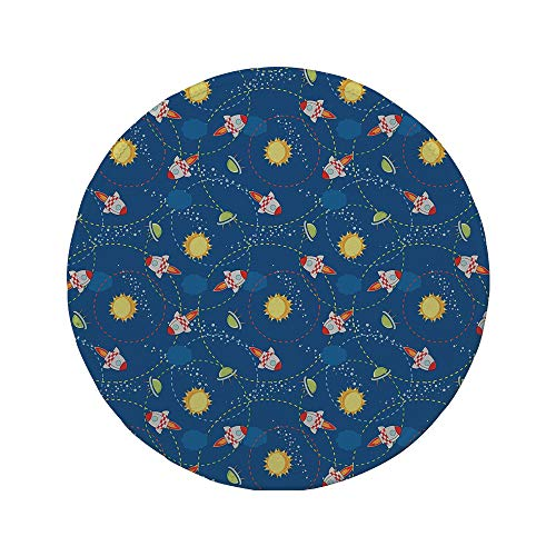 Non-Slip Rubber Round Mouse Pad,Space,Cute Little Cartoon Rocket with Circular Flight Path and UFOs Sun Polka Dots Skyline Decorative,Multicolor,7.87