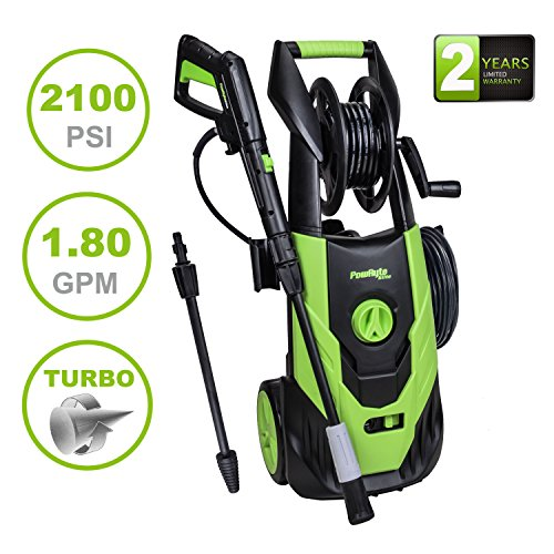 PowRyte Elite 2100 PSI 1.8 GPM Electric Pressure Washer, Power Washer with Adjustable Spray Nozzle, Extra Turbo Nozzle, Onboard Detergent Tank and Hose Reel for Hose Storing