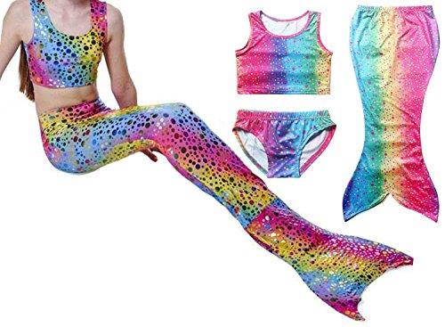 Girls Kids Mermaid Tail Swimmable Swimwear Swimsuit Swimming Costumes 4-5Years Rainbow