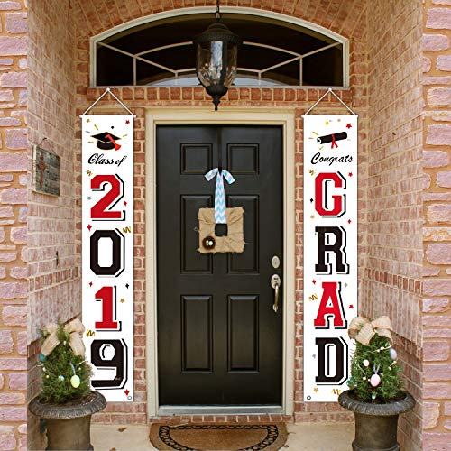 MORDUN 2019 Graduation Party Decorations - Hanging Flags Banners Signs Outdoor Home Door Porch Décor - White Black Red