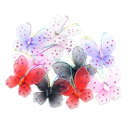 Fenteer Assorted Colors 2 Inches Wired Mesh Glitter Butterfly Wedding Party Table Scatter Scrapbooking Craft Card Decoration Pack of ()