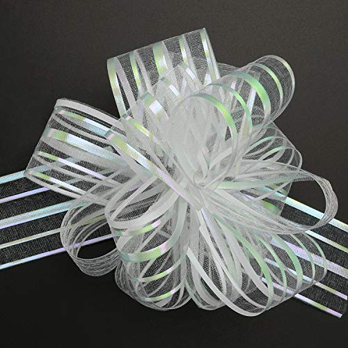 TecUnite 10 Pack Pull Bow, Organza White Large 6 Inches Pull String Bows for Wedding Christmas Easter Gifts