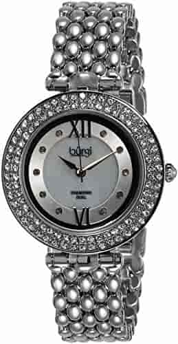 Burgi Women's BUR126SS Diamond & Crystal Accented Mother-of-Pearl Swiss Quartz Silver Bracelet Watch