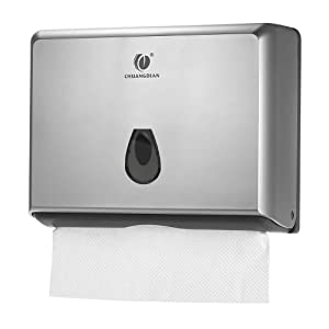 BBX Lephsnt Paper Towel Dispenser, CHUANGDIAN Wall-Mounted Hand Towel Dispenser (Silver)