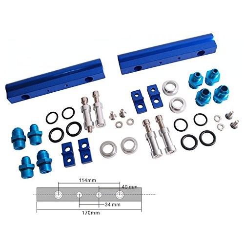 (Top Feed Injector High Flow Fuel Rail Kit for Subaru Wrx Sti EJ20 EJ20T Blue Aluminium Billet )