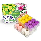 YMING Highly Scented Soy Tealight Candle Gift Set for Yoga, Meditation, Relaxation (Rose, Lavender, Vanilla, Lemon) - 48 Pack