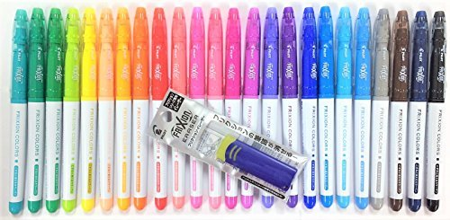 Pilot FriXion Colors Erasable Marker Pen, 24 Colors Set & FriXion Eraser Light Blue with Original Vinyl Pen Case by Pilot (Image #5)